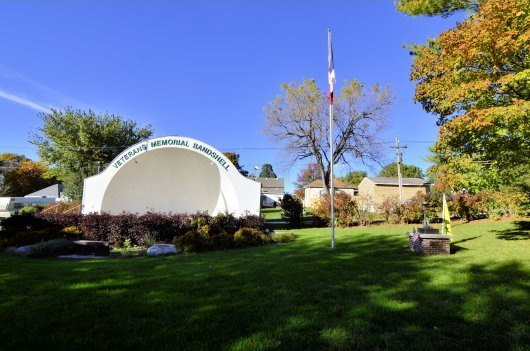 Bandshell and James Justice Memorial